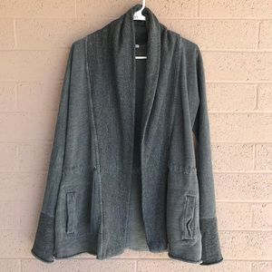 James Perse Open Heavy Cardigan Jacket Draw String